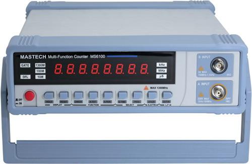 Частотомер Мastech MS6100 предназначен для измерения частоты в диапазоне от 10 Гц до 1300 МГц с разрядностью 8 знаков.